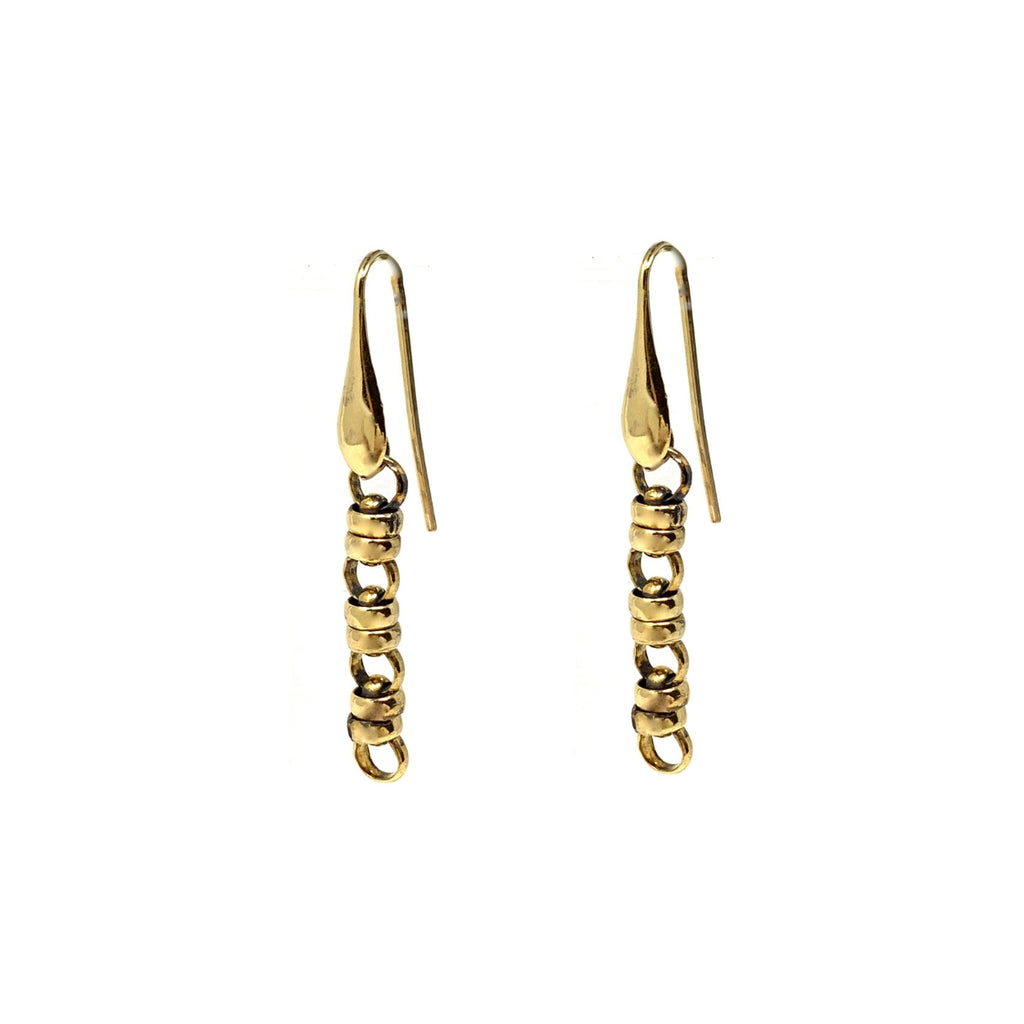 Links 5mm Dangles x3 Earrings (Antique Gold)