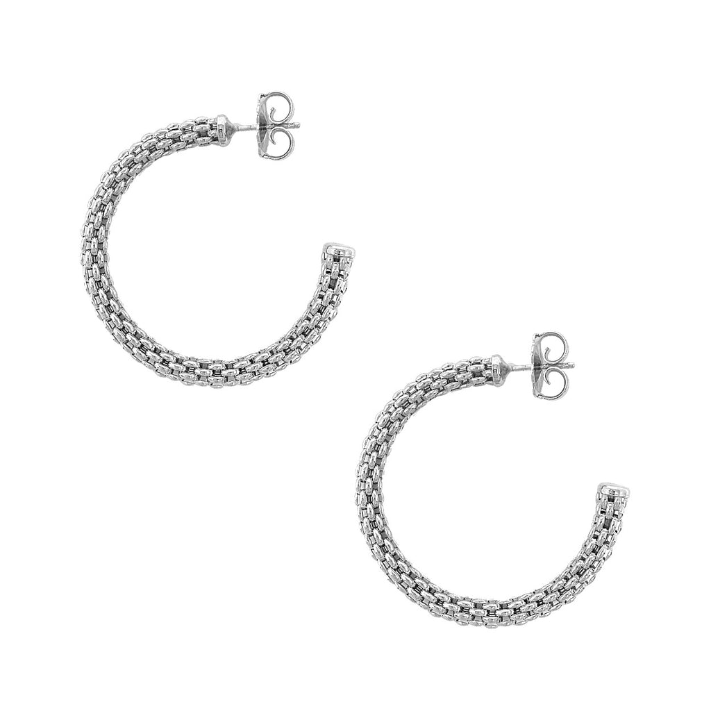 Empress Constantina Hoops Medium Earrings (Rhodium)