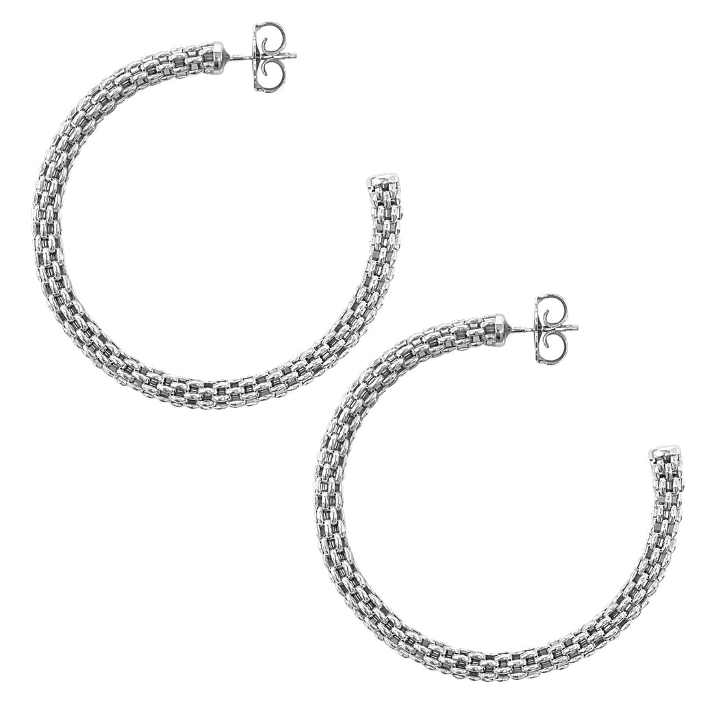Empress Constantina Hoops Large (Rhodium)