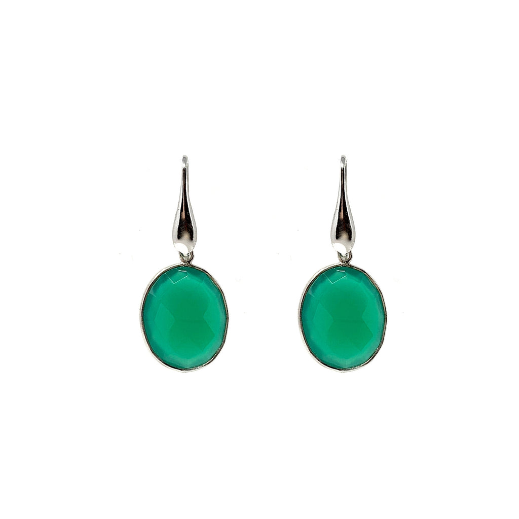 Green Agate Dolce Vita Oval Earrings (Rhodium)