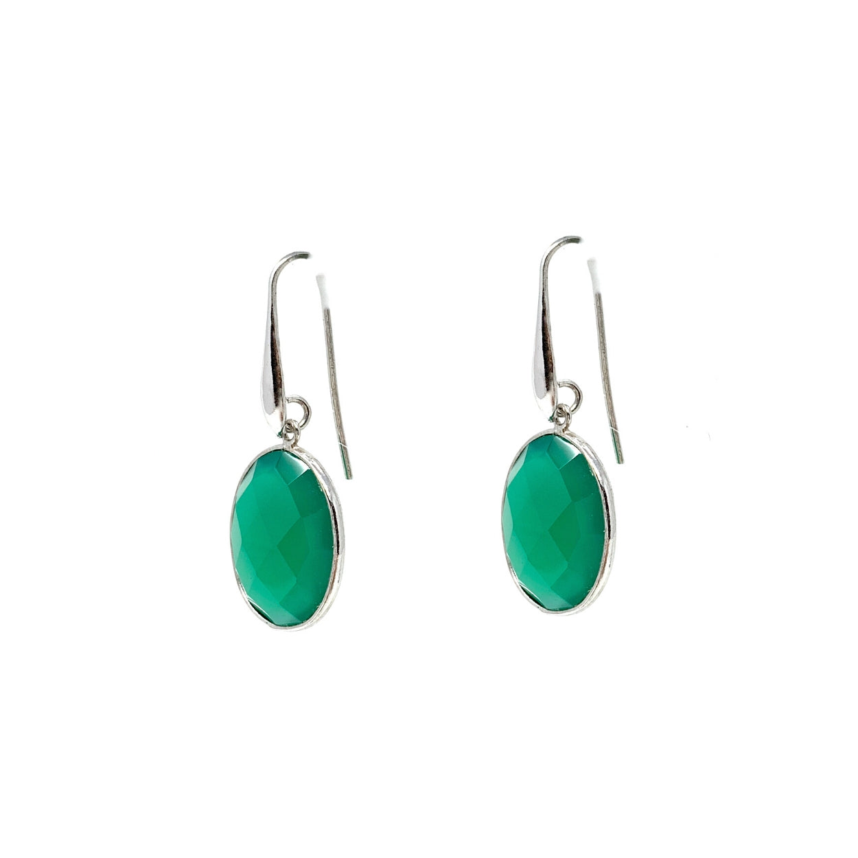 Dolce Vita Earrings in Silver with Oval Green Agate