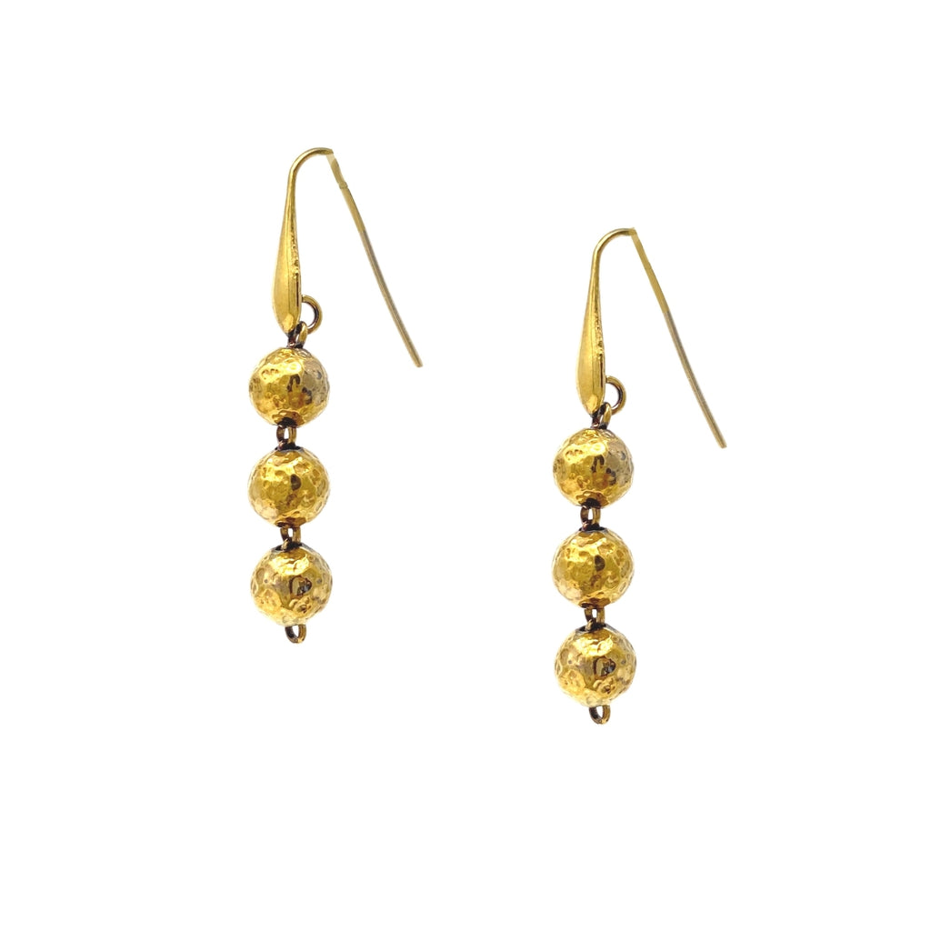 Earrings Hammered Beads x3 Antique Gold