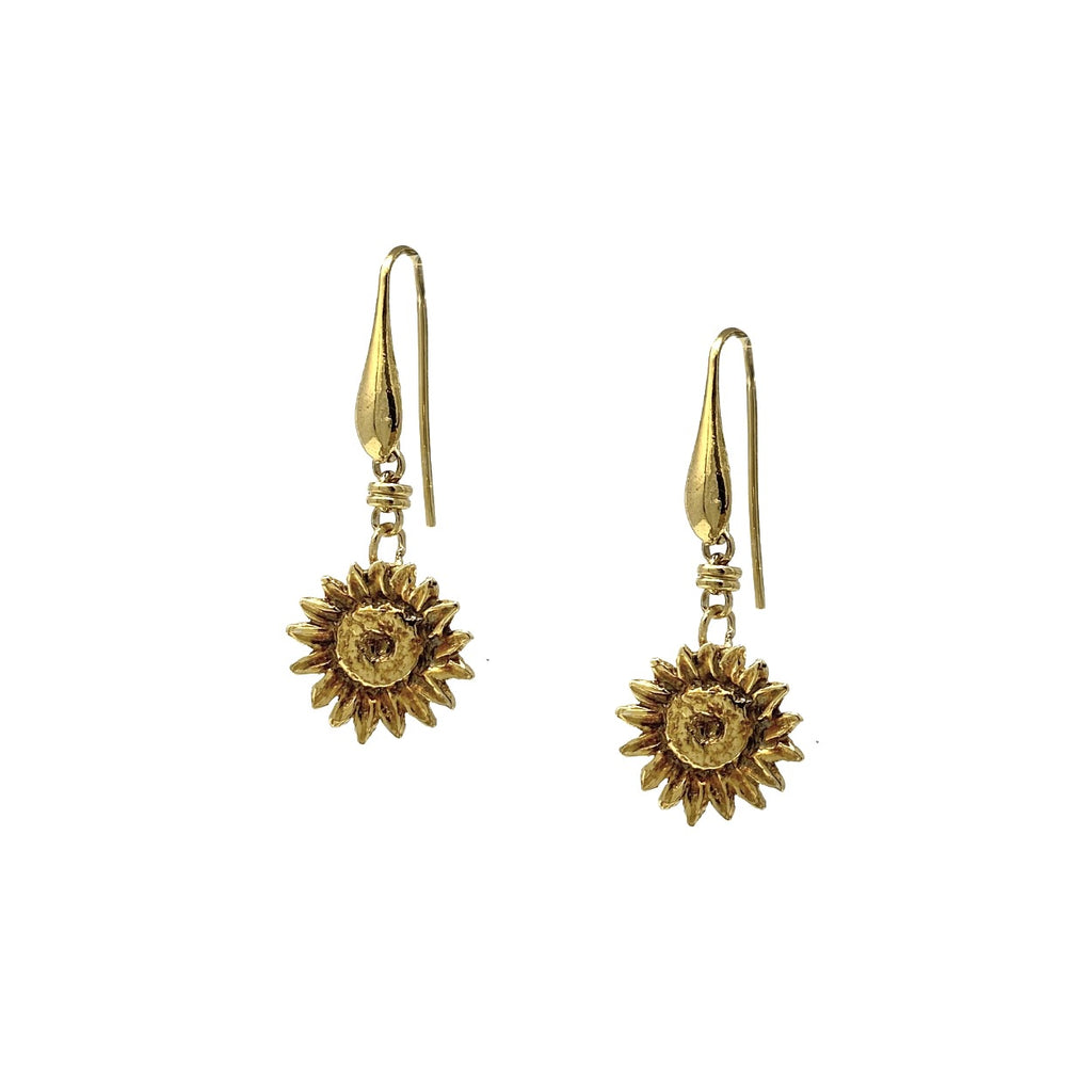Earrings Sunflower Large Dangles Antique Gold