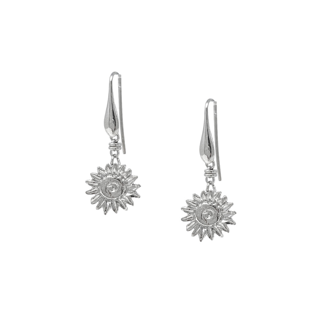 Earrings Sunflower Large Dangles Rhodium