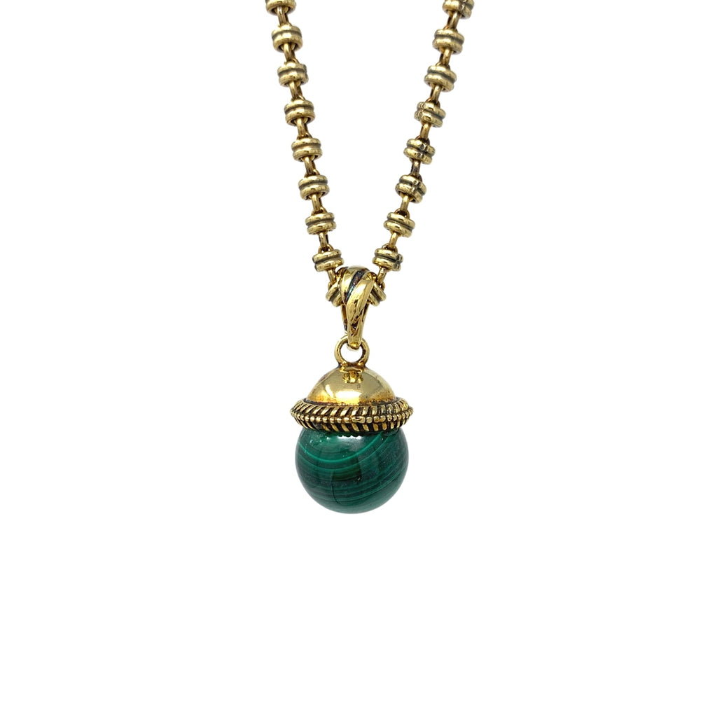 Layered Malachite Cappellino Pendant (Antique Gold)