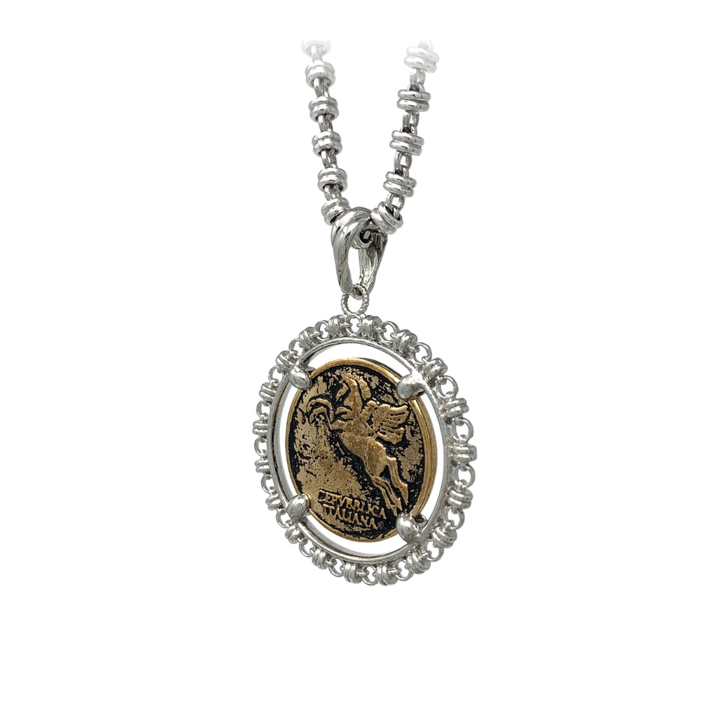 Filary Pegasus Antique Gold Coin, Rhodium Frame