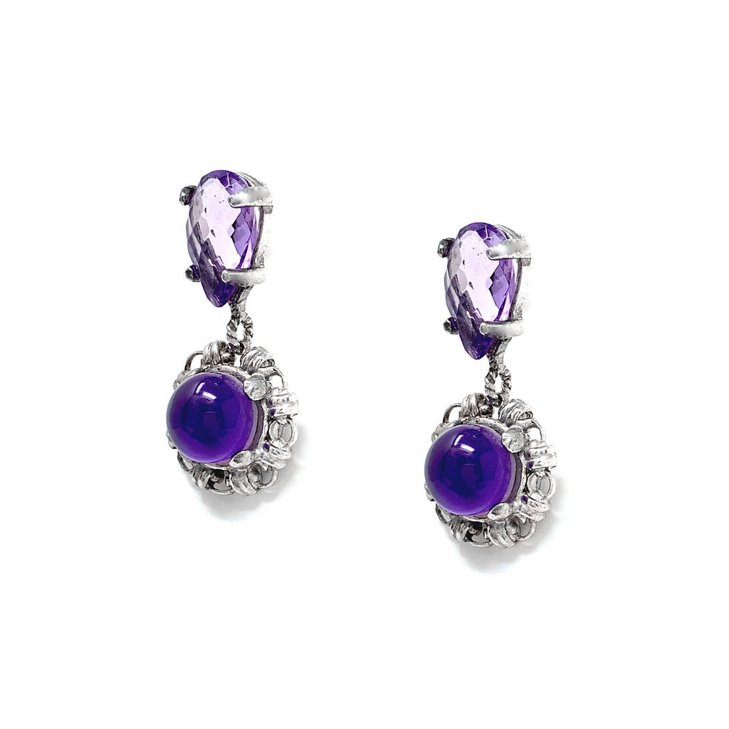 Katerina Amethyst Filary Earrings (Rhodium)