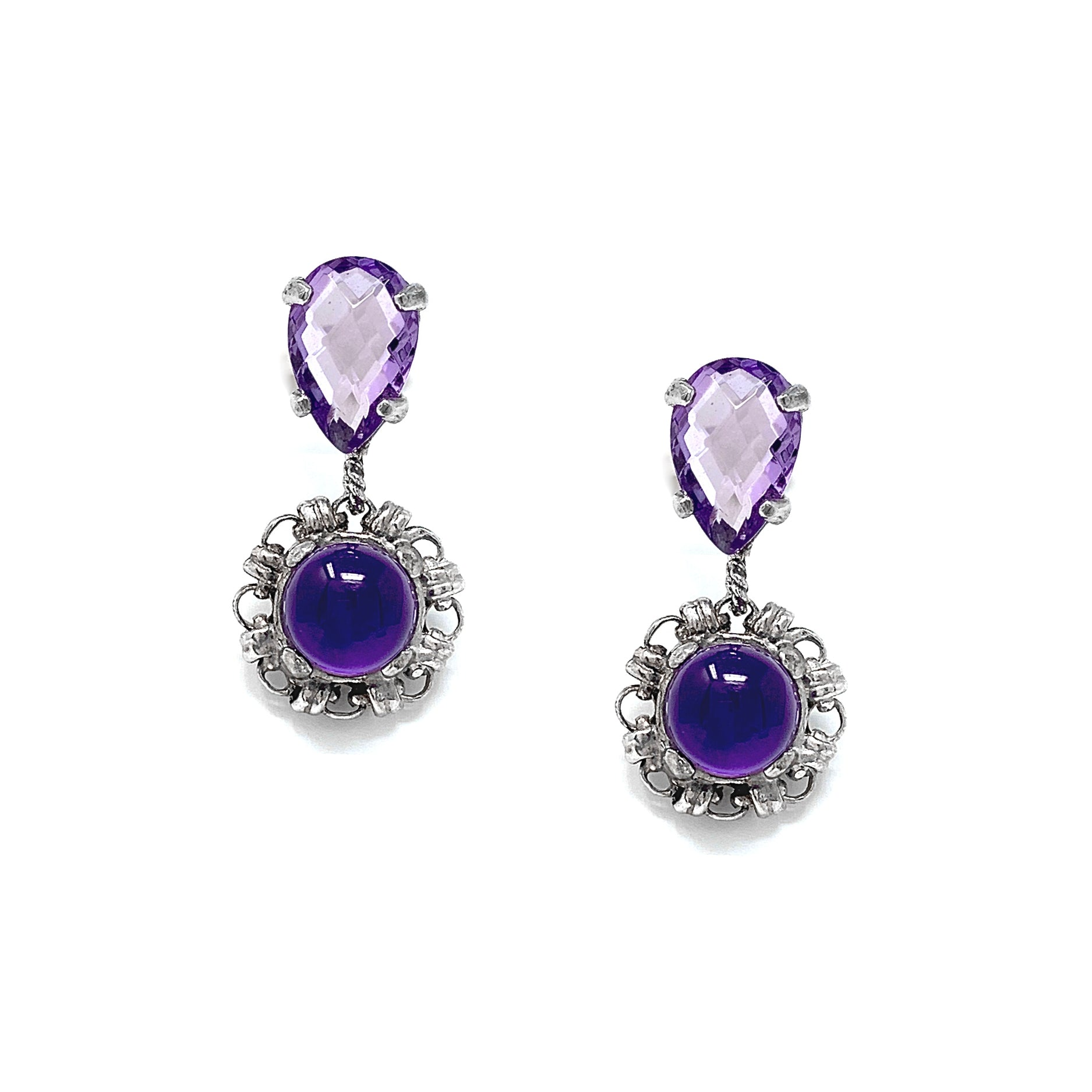 Katerina Amethyst Filary Earrings in Silver