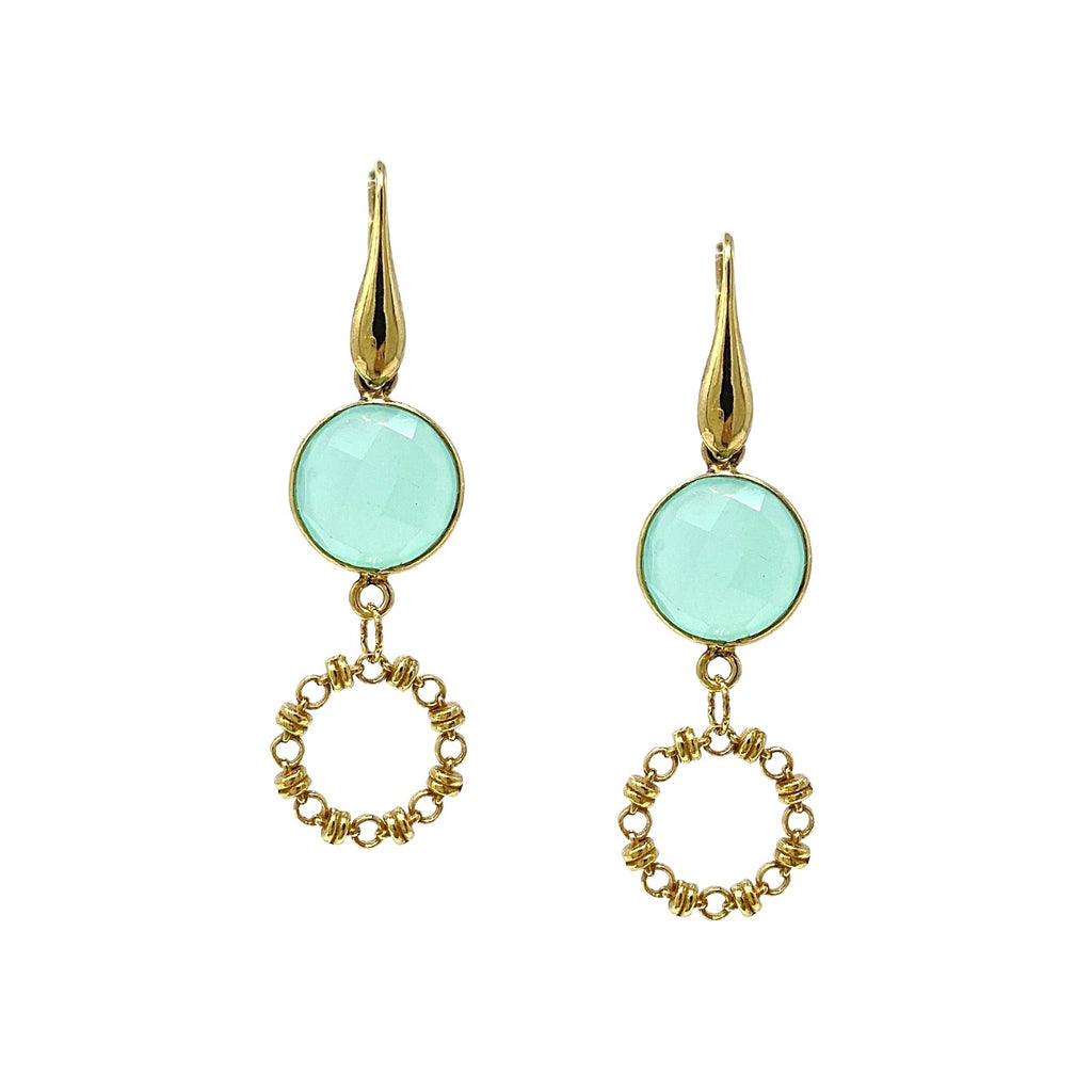 Earrings Botticelli x1 Chalcedony x1 Antique Gold