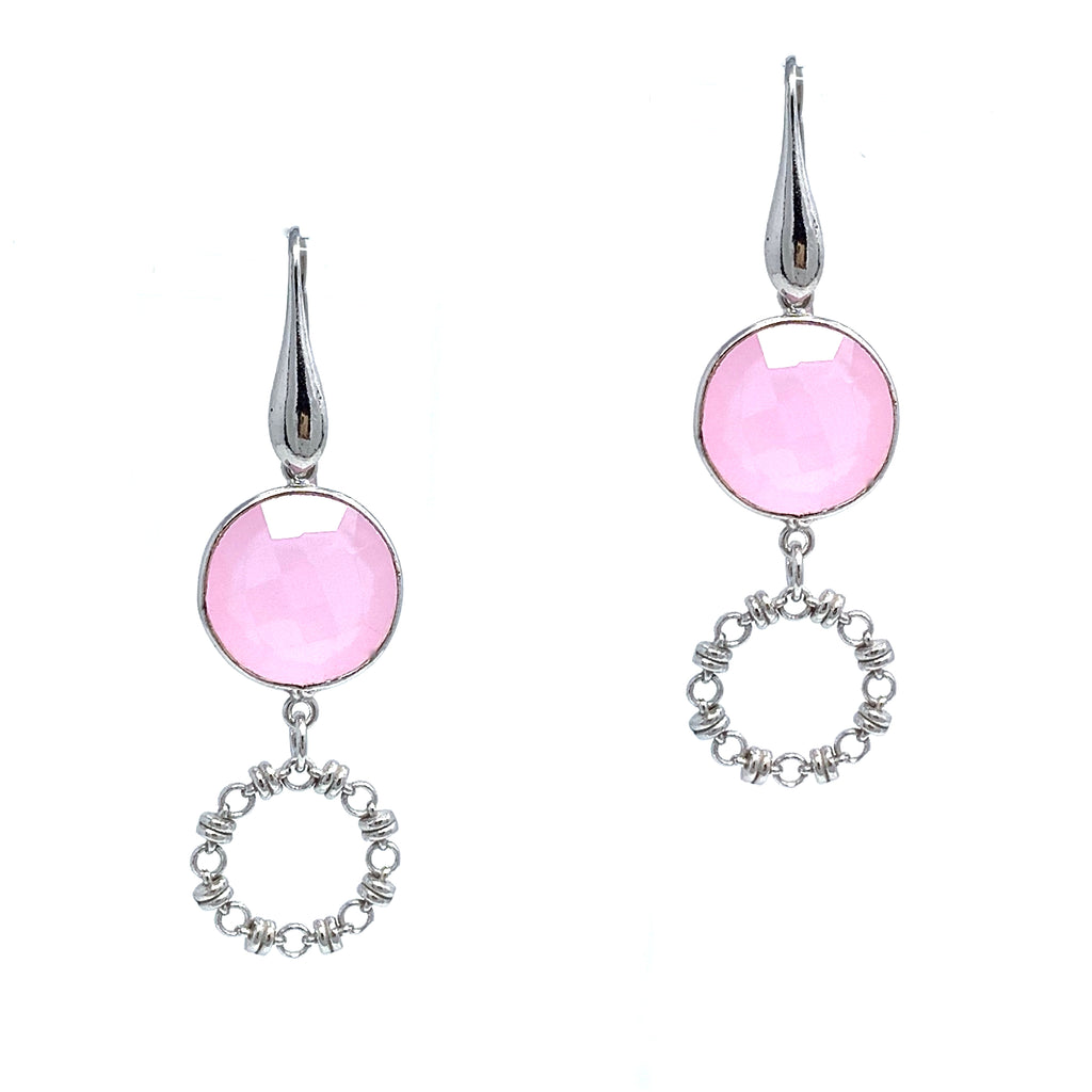 Earrings Botticelli x1 Pink Jade x1 Rhodium