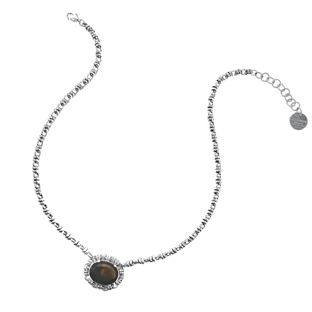 Necklace Megani 20x15mm Smoky Quartz Rhodium