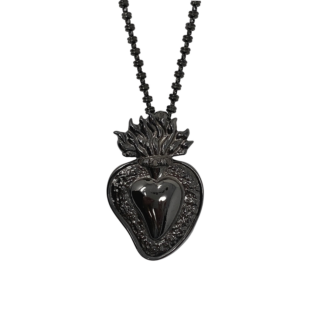 Pendant Flaming Heart Black Rhodium