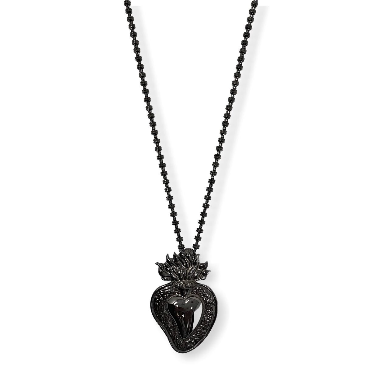 Flaming Heart Pendant in Black