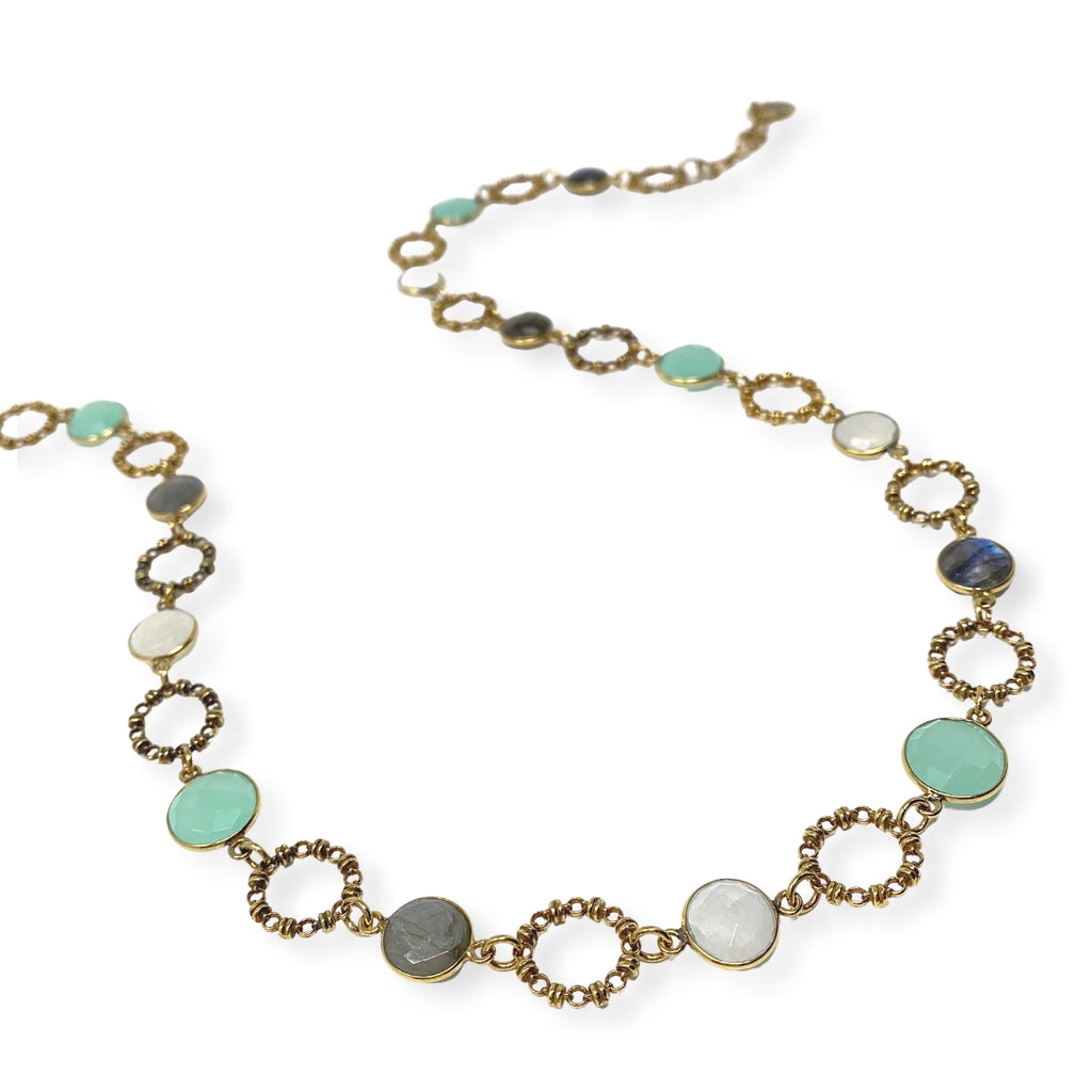 Necklace Botticelli x18 Chalcedony Moonstone Labradorite x17 C Antique Gold
