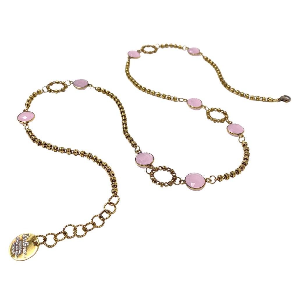Necklace Botticelli Arte x4 Pink Chalcedony x8 C Antique Gold