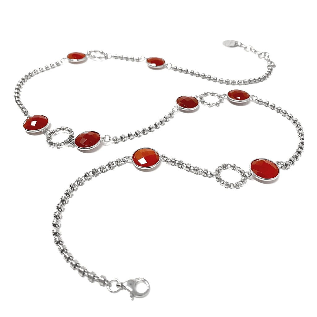 Necklace Botticelli Arte x4 Carnelian x8 C Rhodium