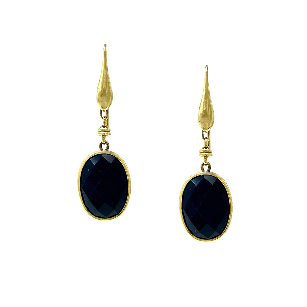 Earrings Caterina Onyx Antique Gold