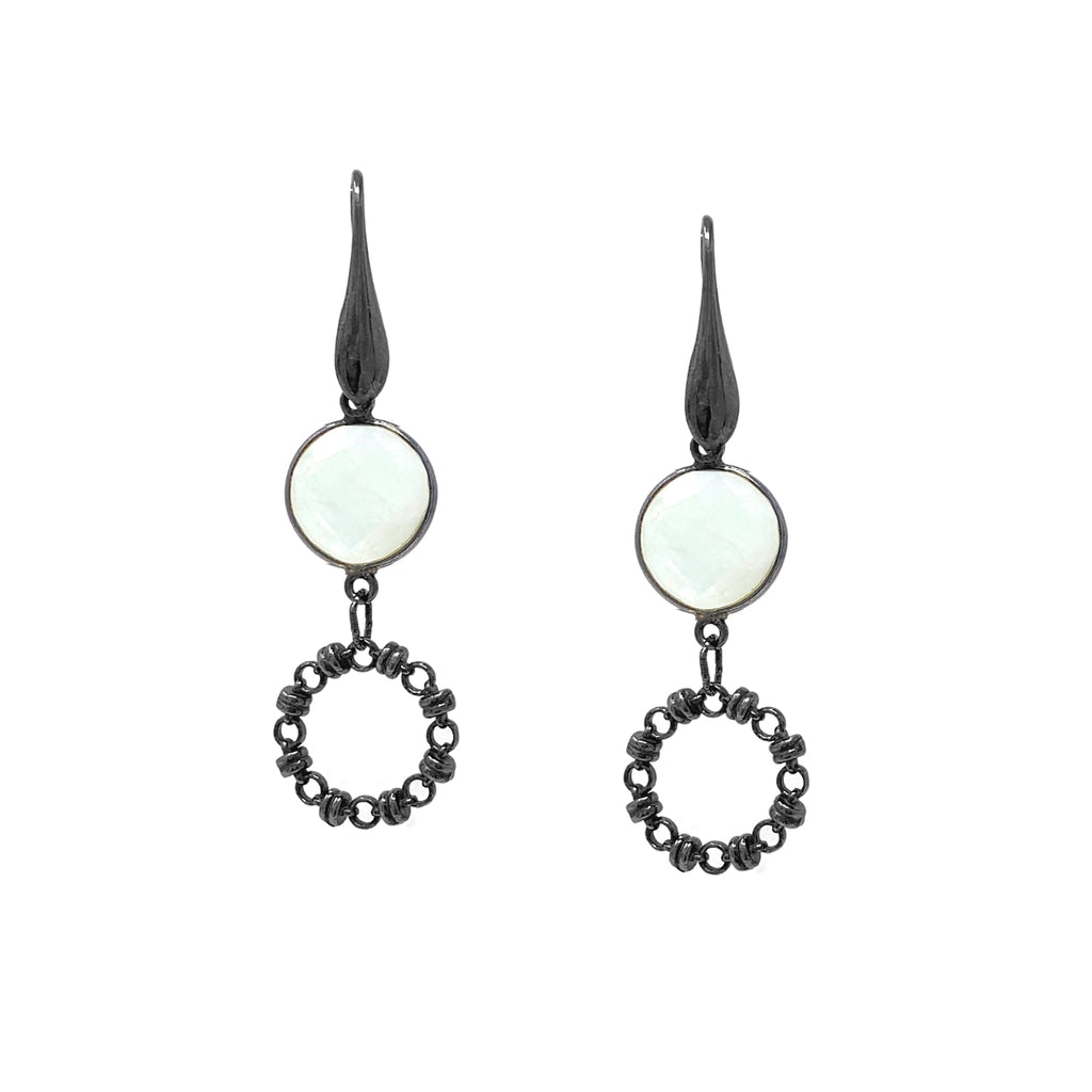 Earrings Botticelli x1 Moonstone x1 Black Rhodium