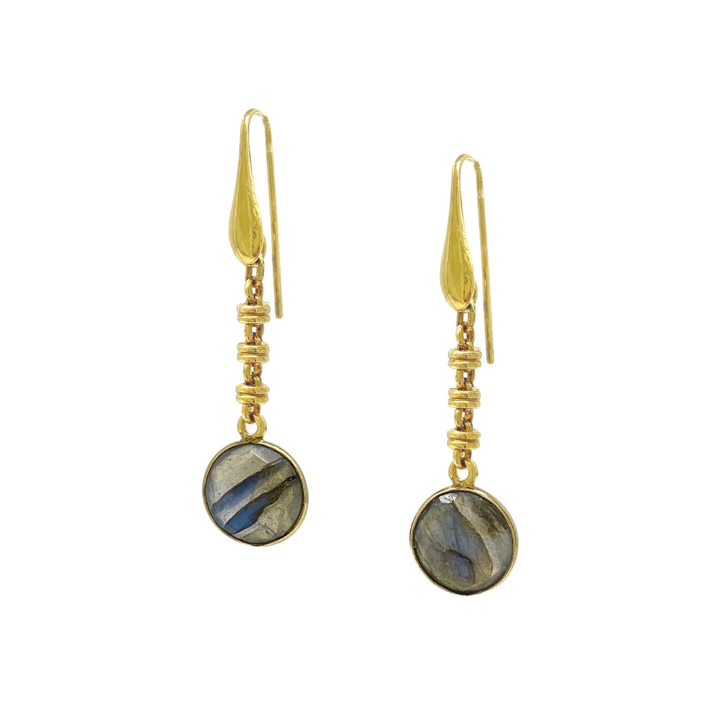 Chiara Earrings in Gold with Labradorite