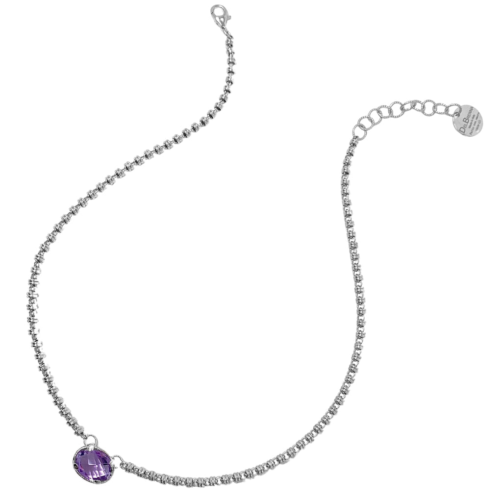 Volare Necklace in Silver with Amethyst