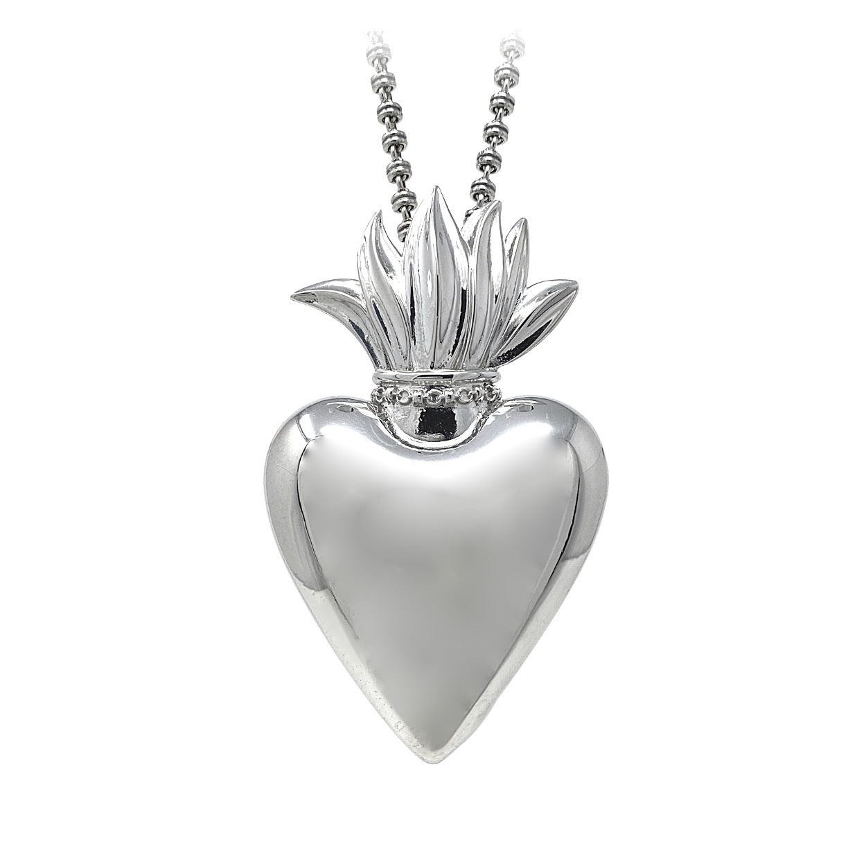 Large Flaming Heart Pendant in Silver