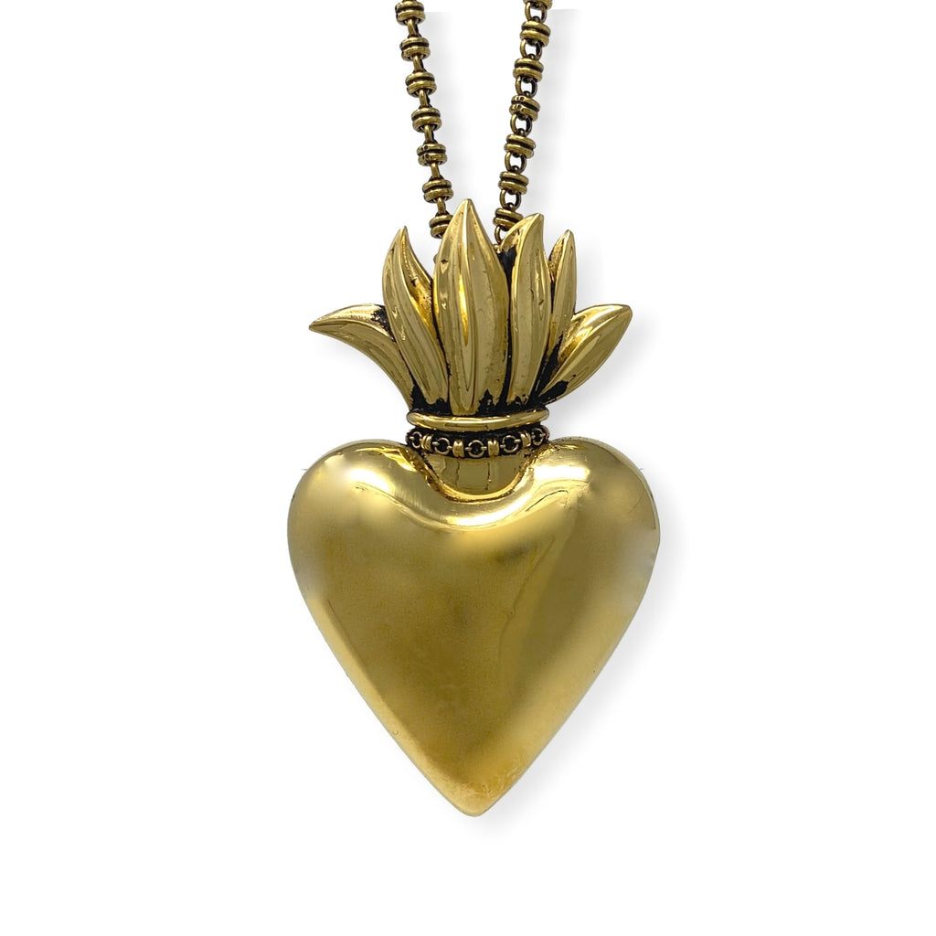 Pendant Flaming Heart Large Antique Gold