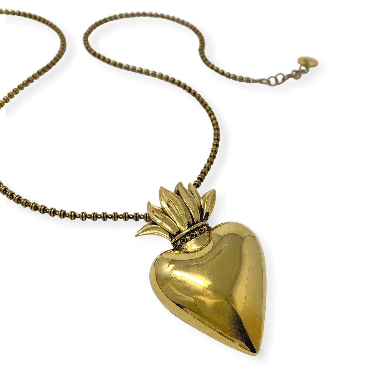 Large Flaming Heart Pendant in Gold