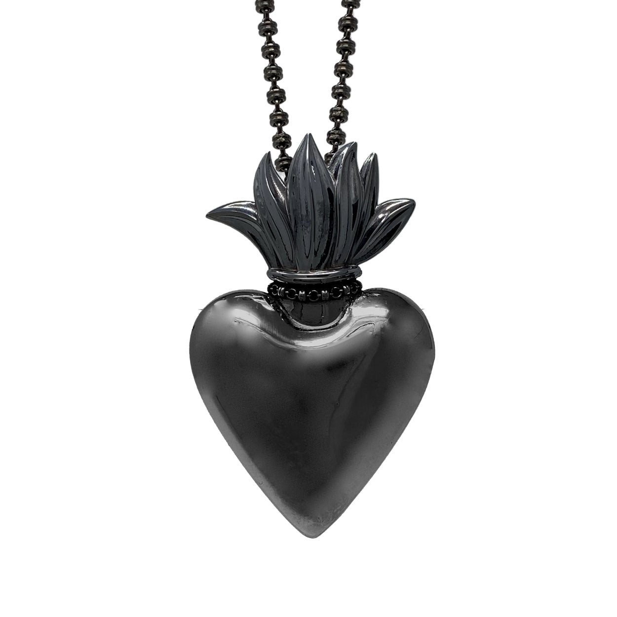 Large Flaming Heart Pendant in Black