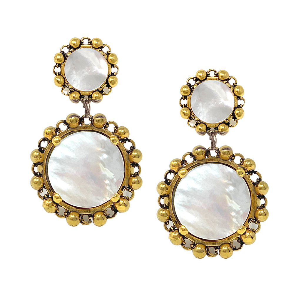 Statement Piazza Stud Earrings in Gold with Mother of Pearl