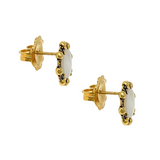 Petite Piazza Stud Earrings in Gold with Mother of Pearl