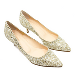 Pointed Toe Glitter Pumps (Gold)