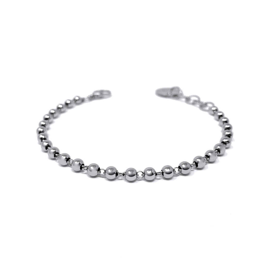 Beads 3mm Bracelet (Rhodium)