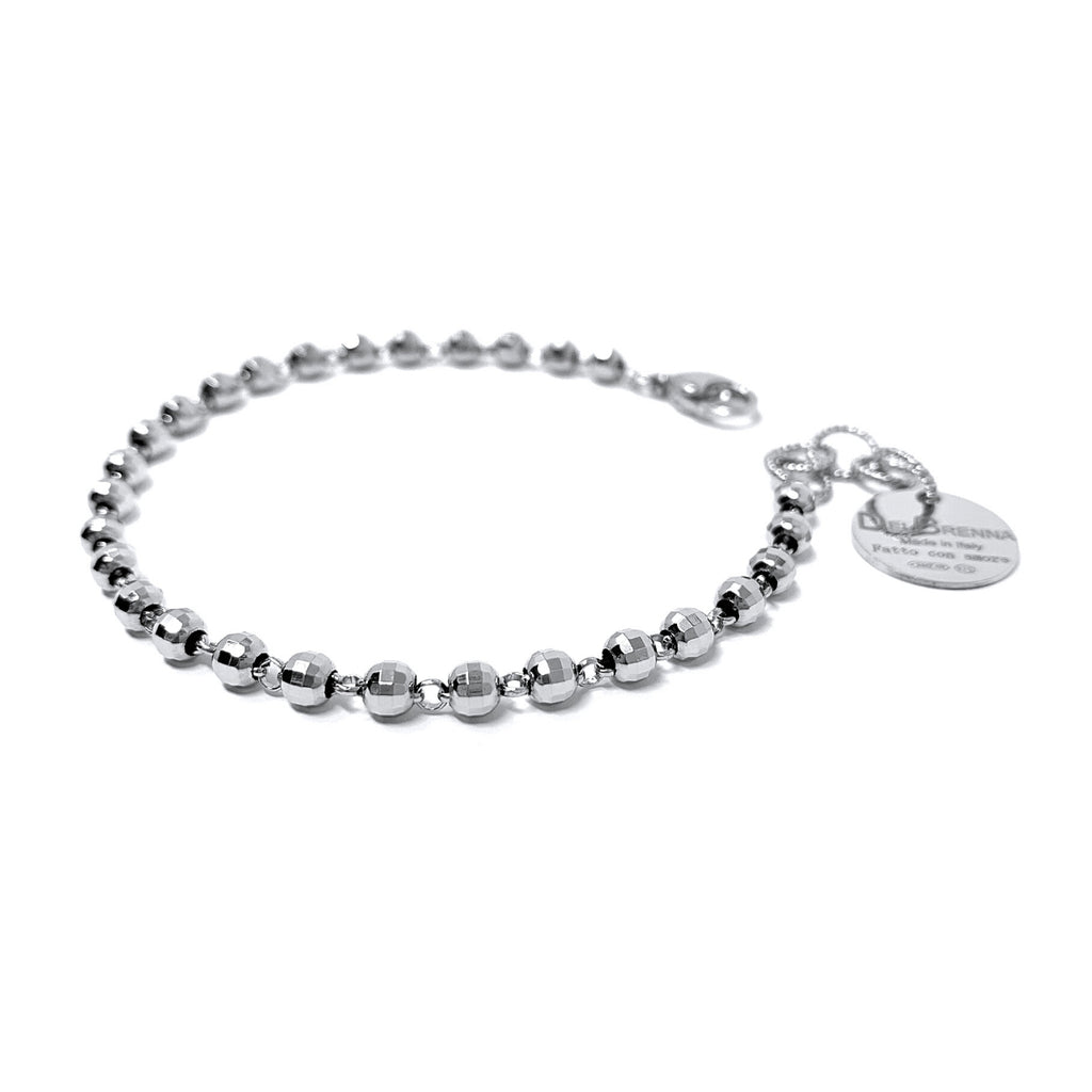 Bracelet Diamond Beads 3mm (Rhodium)