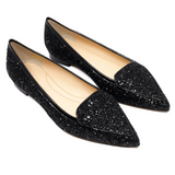 Pointed Toe Glitter Flats (Black)