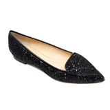 Pointed Toe Glitter Flats in Black