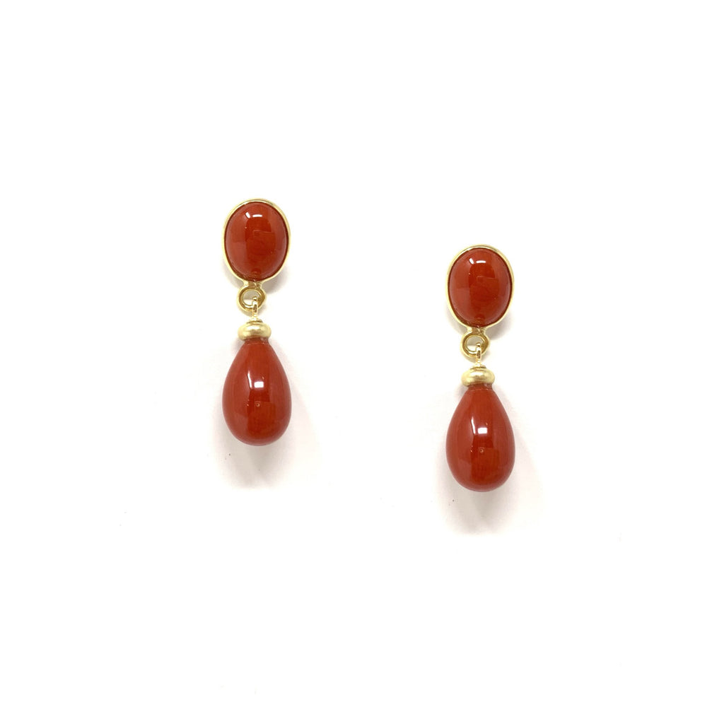 Earrings 18K Yellow Gold Sardinian Coral Small Drops - Mix160/180