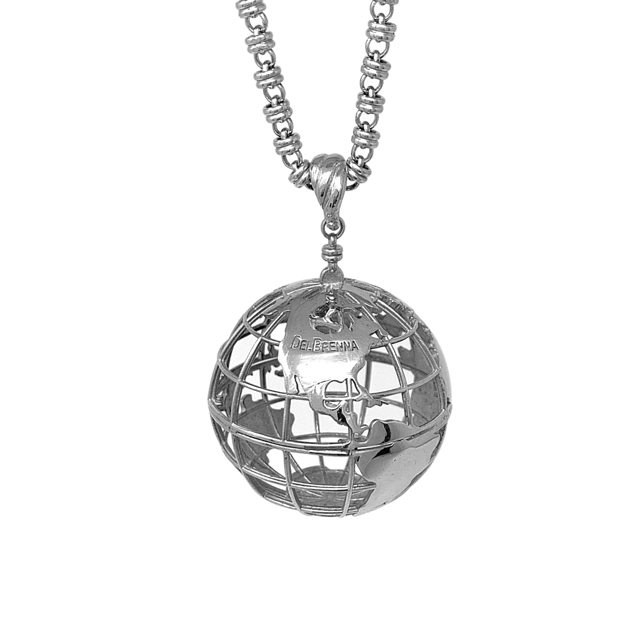 Large Globe Pendant in Silver