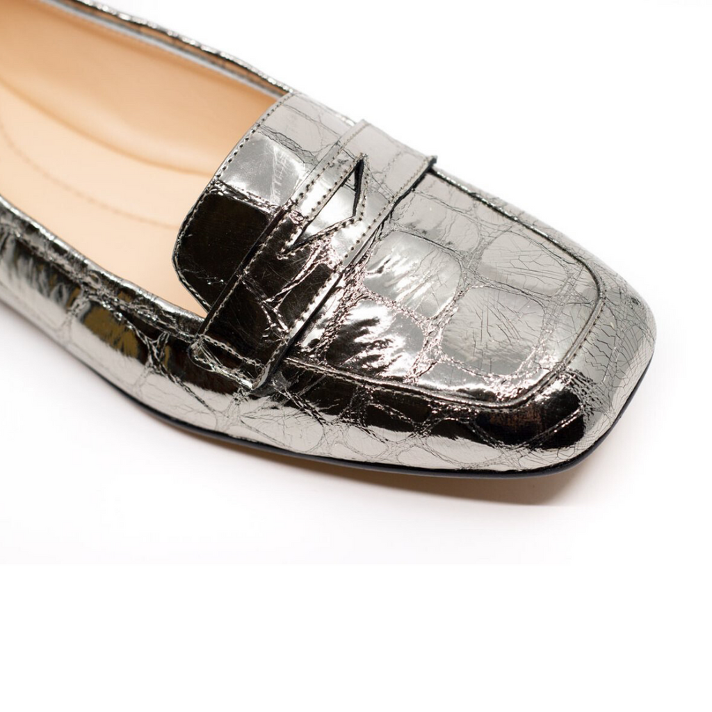 Square Toe Penny Loafer Flats (Platinum Cocco Mirror)