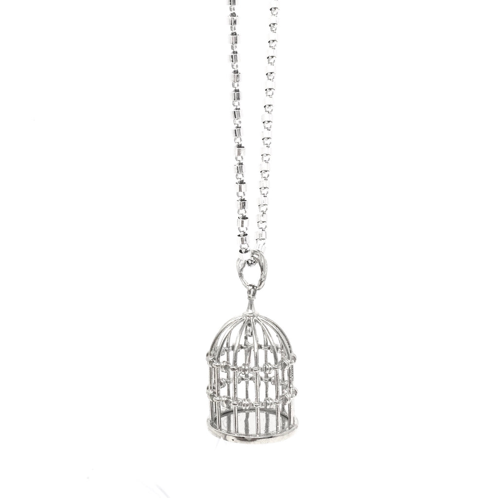 Free as a Bird Birdcage Pendant (Rhodium)
