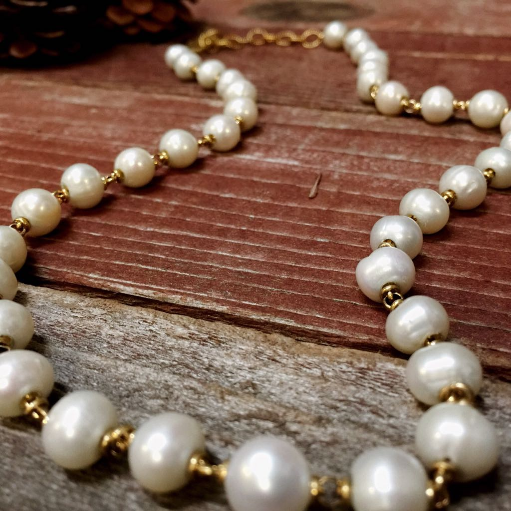 Freshwater Pearl Necklace Gold Finish (20-22 inch length)