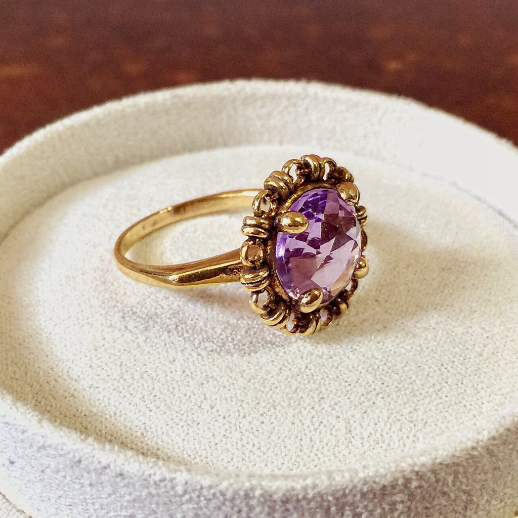 Amethyst Filary Ring (10mm - Antique Gold)