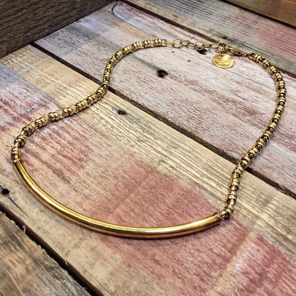 Bucatini Necklace 5mm Light Beam (Antique Gold Oxidation)