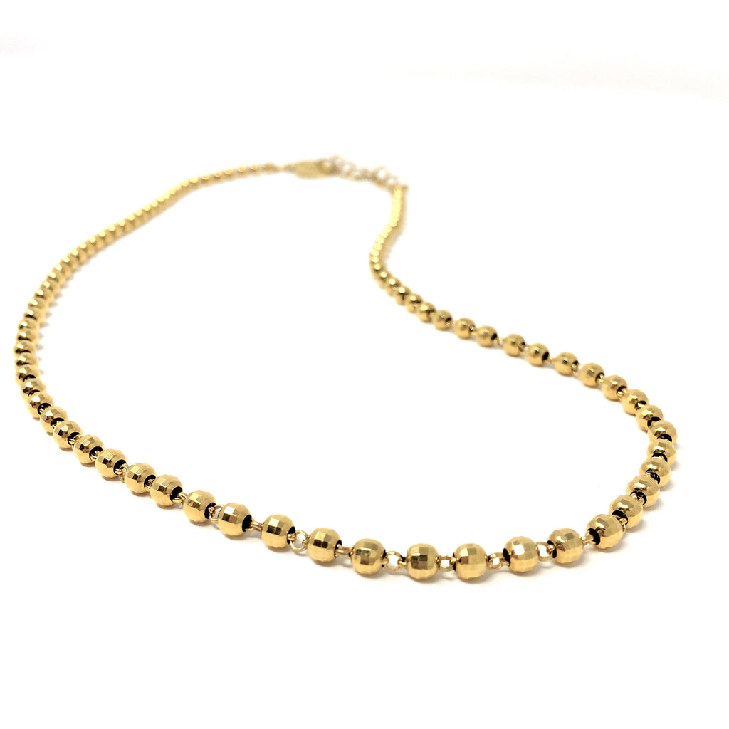 Diamond Beads Chain (B Matinee Length - Yellow Gold)