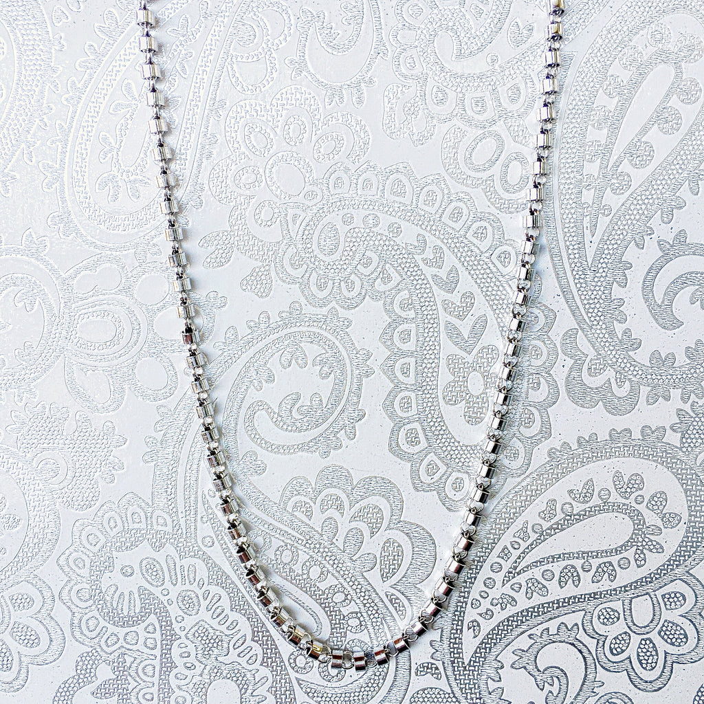 Cylinders 3mm Chain (A Princess Length - Rhodium)