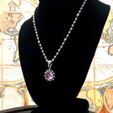 Light Amethyst Rosario Pendant (Rhodium)