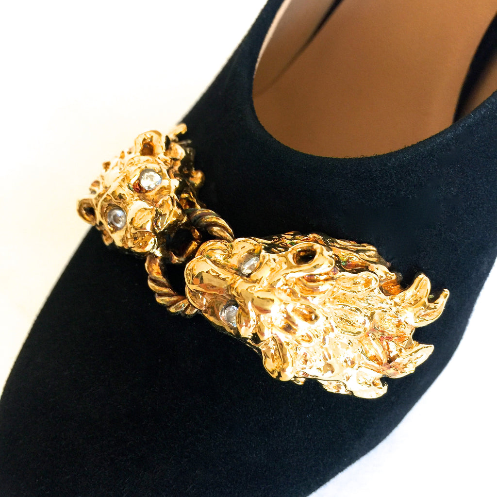 Lioness Black Suede Jewel Pumps