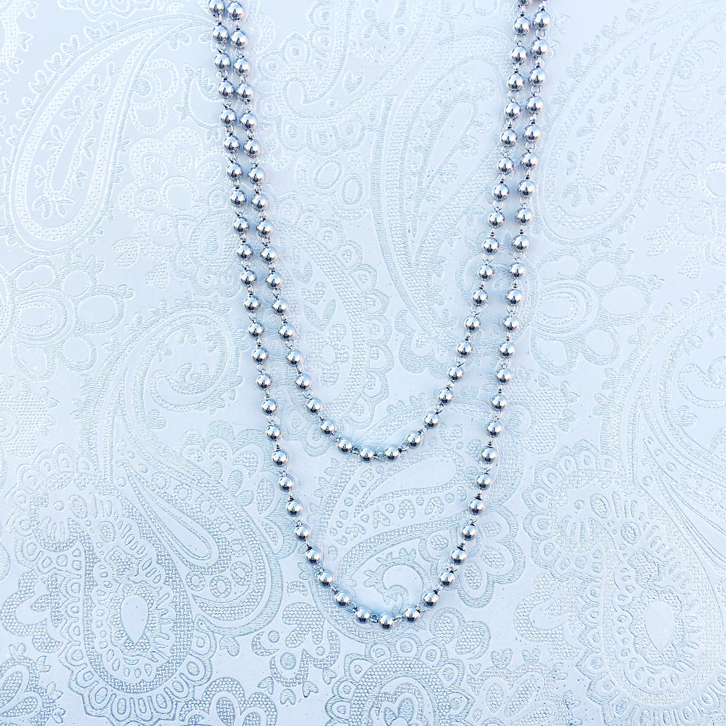 Beads 3mm Chain (D Rope Length - Rhodium)