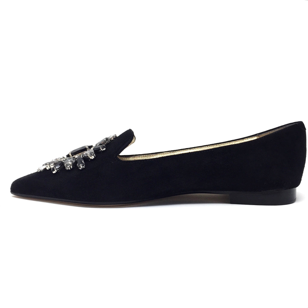Pointed Toe Jewel Burst Flats in Black