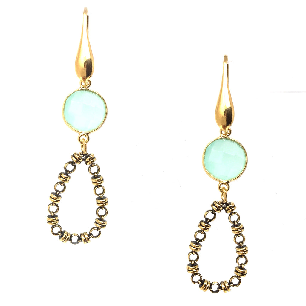 Chalcedony Botticelli Drops Earrings (Antique Gold)