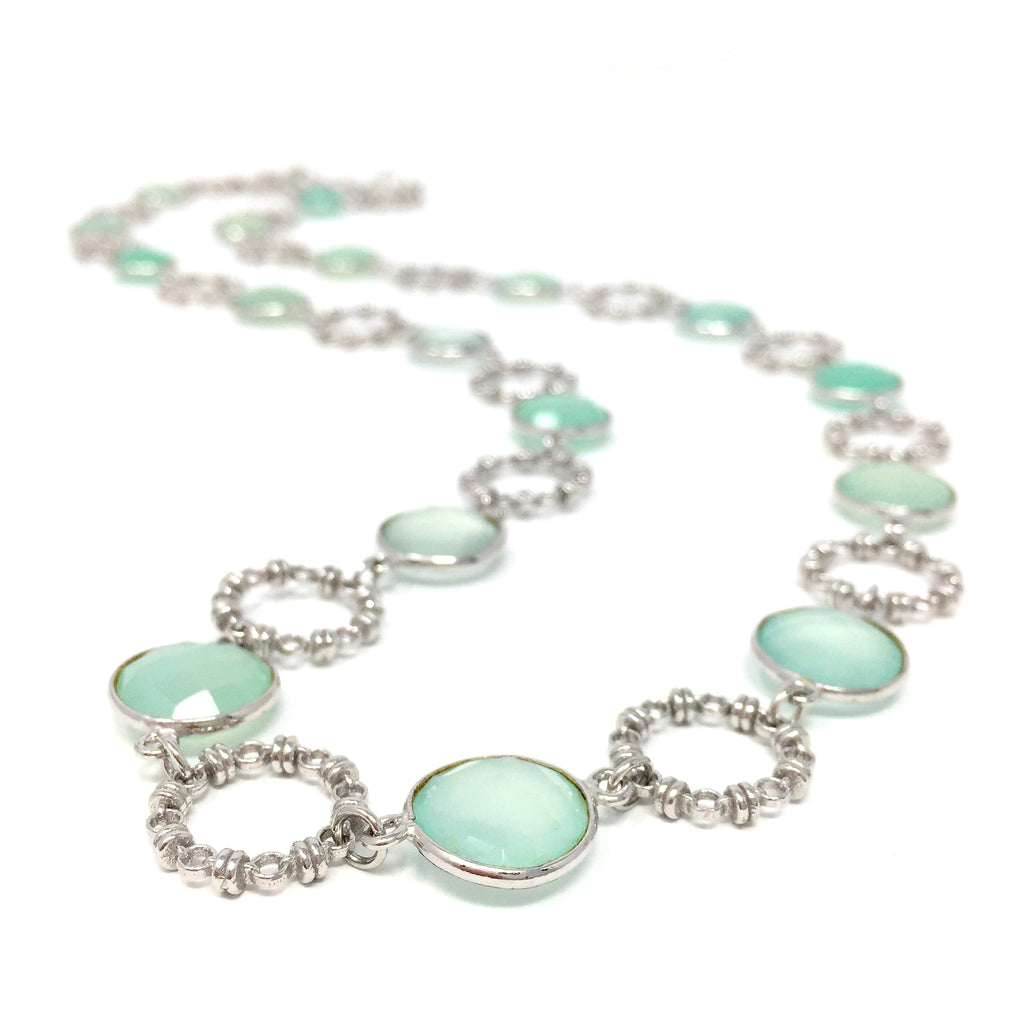 Chalcedony Botticelli Necklace (C Opera - Rhodium)